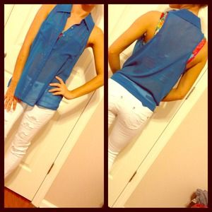 Decree Tops - Blue Sheer Button Down Blouse