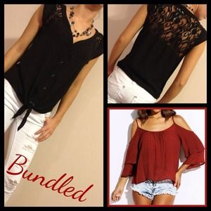 love2beloved Tops - Bundle- Red Tiered Top & Black Lace Insert Top