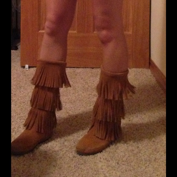 77% off Minnetonka Shoes - Triple layer fringe boots from Gabby's ...