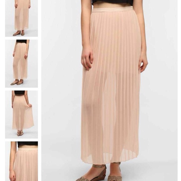 Pink Pleated Maxi Skirt - Skirts