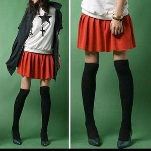 Accessories - Black Knee High Socks M