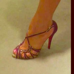 Authentic Christian Louboutin purple suede heels