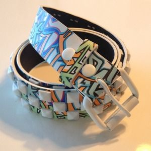 Accessories - NEW Studded Graffiti Belt