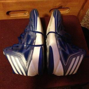 Blue adidas basketball shoes