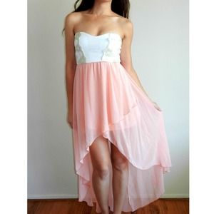 High-Low peach dress