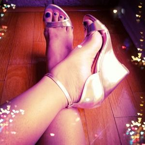 SALE - LAST PAIR Gold Holographic Peep Toe Wedges