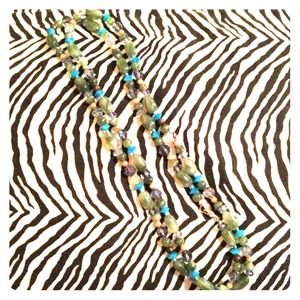 Green and turquoise long beaded necklace