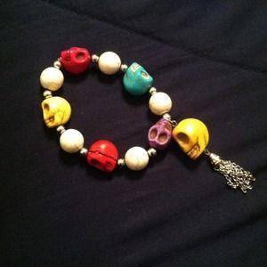 Marbled stone skull bracelet
