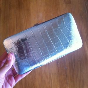 Clutches & Wallets - Reduced! Silver croc wallet/clutch