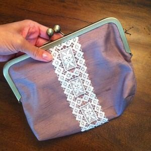 Lace detail clutch