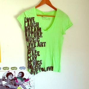 Neon green basic graphic tee