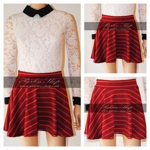 Red stripes skater skirts XS, S, M