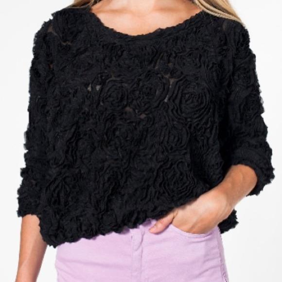 American apparel 3d flower mesh jumper/sweater
