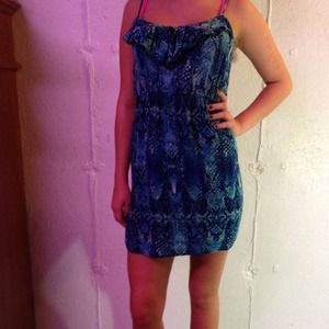 Blue water like print dress