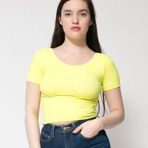 American Apparel Tops - American Apparel Neon Short Sleeve Crop Top