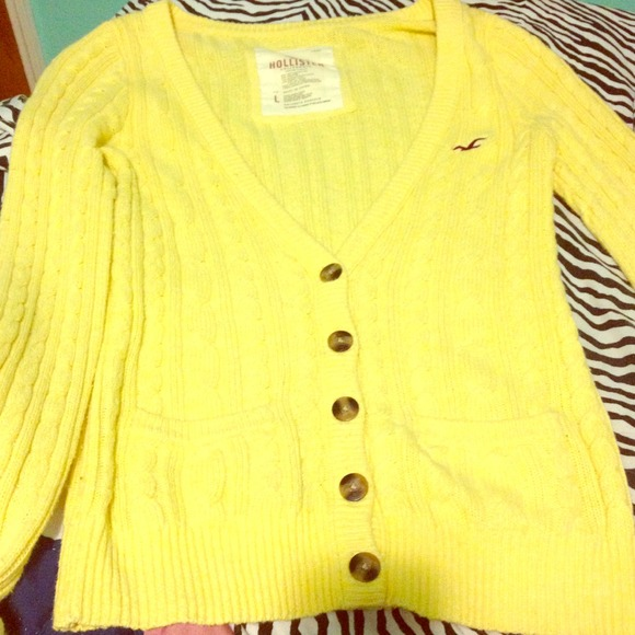 69% off Hollister Sweaters - Hollister yellow button up sweater ...
