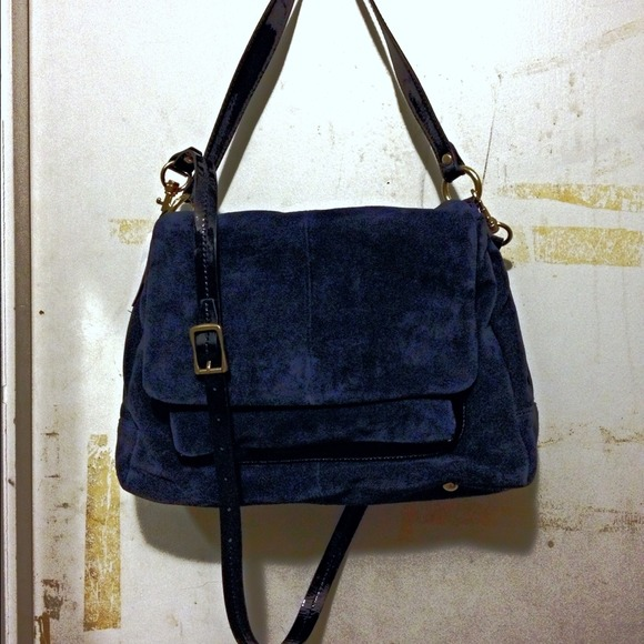 J. Crew - Suede navy handbag from Abby's closet on Poshmark