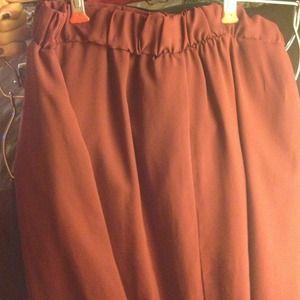Hi low wine red skirt