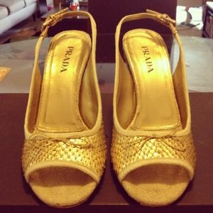 Prada Gold Snakeskin Wedge Shoes