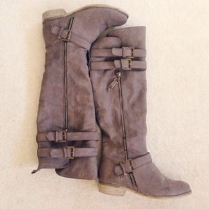 Boots - Gray Knee High Boots