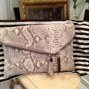 Henri Bendel leather clutch and handbag