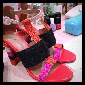 Zara woven bright color block sandals