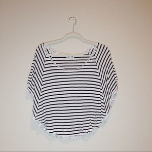 Striped Butterfly Sleeve Top