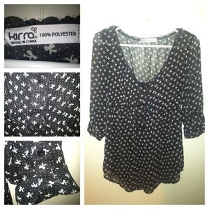 Flowy top with adorable polka dot and bow pattern