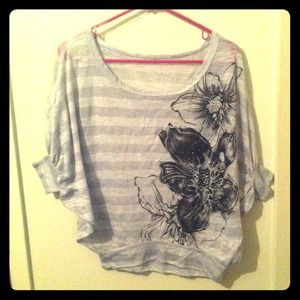 Grey Striped Floral Batwing Top