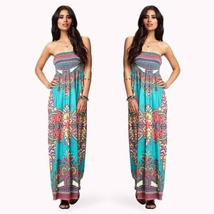 Dresses & Skirts - NWT Boho Teal Maxi Dress Bohemian Paisley Orange