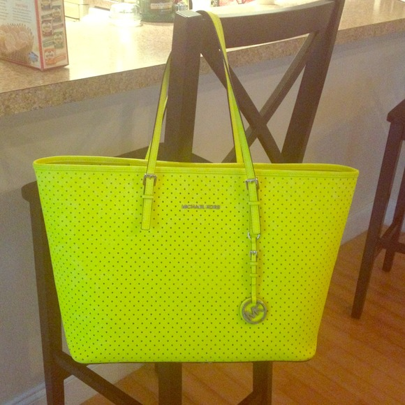 Michael Kors - ⬇REDUCED Huge Michael Kors Neon Yellow Purse ...