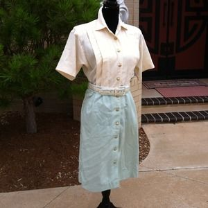 1960's Vintage Two Tone Belted Outfit