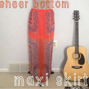 Sheer bottom maxi skirt