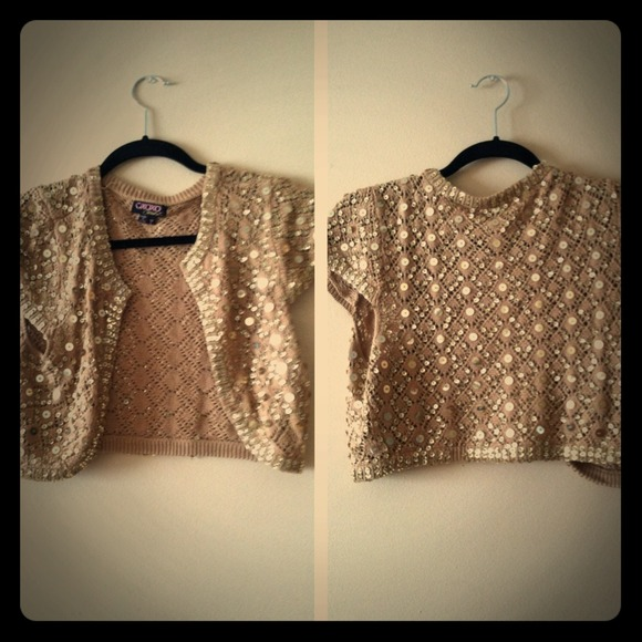 56% off Tops - Gold sparkly short sleeve shrugged cardigan from ...