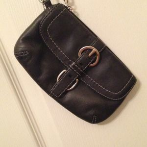 Authentic Coach Black Leather Wristlet