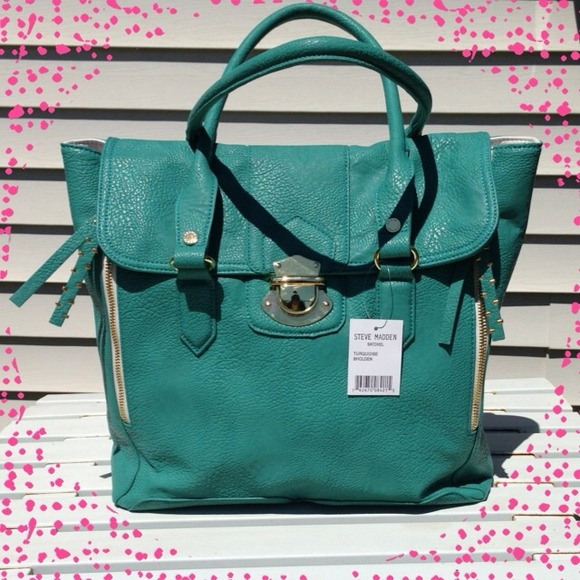 Steve Madden Handbags - New Steve Madden Turquoise Leather Satchel
