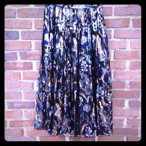 Vintage brocade silk skirt metallic