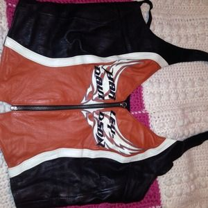 Harley Davidson Tops - Harley Davidson lined leather best with zipper