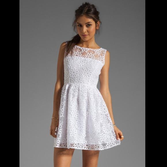 Bb Dakota Huela Organza Embroidered Dress White Nwt