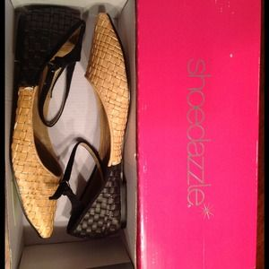 ShoeDazzle two-tone flats with ankle strap $30