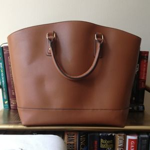 ON HOLD Cognac leather shopper