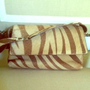 zebra fur hand bag