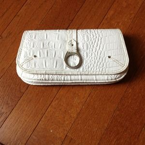 White Snakeskin Clutch/Wallet