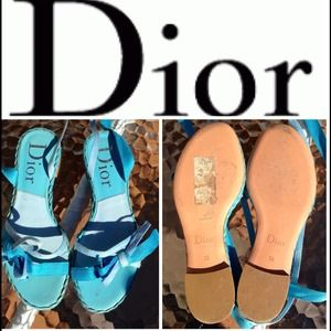 Christian Dior Turquoise Ankle Wrap Sandals Sz36