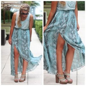 Mint Python Maxi Skirt | Dress the Population