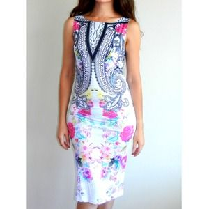Flower printed midi dress