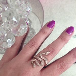 "Stella & Dot ""Sidewinder"" Rose Gold Snake Ring"