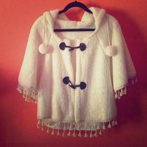 Outerwear - White Fuzzy Poncho-like Top