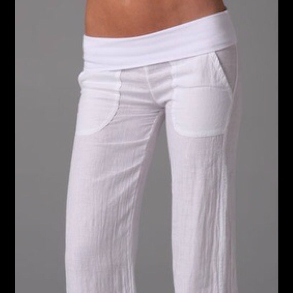 51% off so low Pants - So Low linen fold over wide leg pants ...
