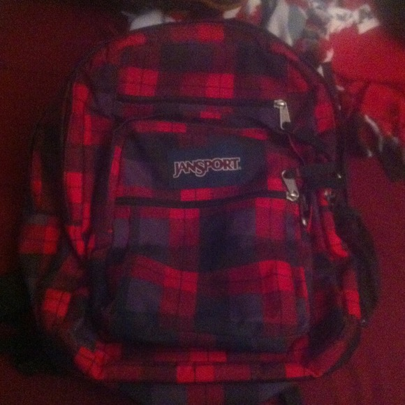 64% off Jansport Accessories - Red and black plaid backpack from ...